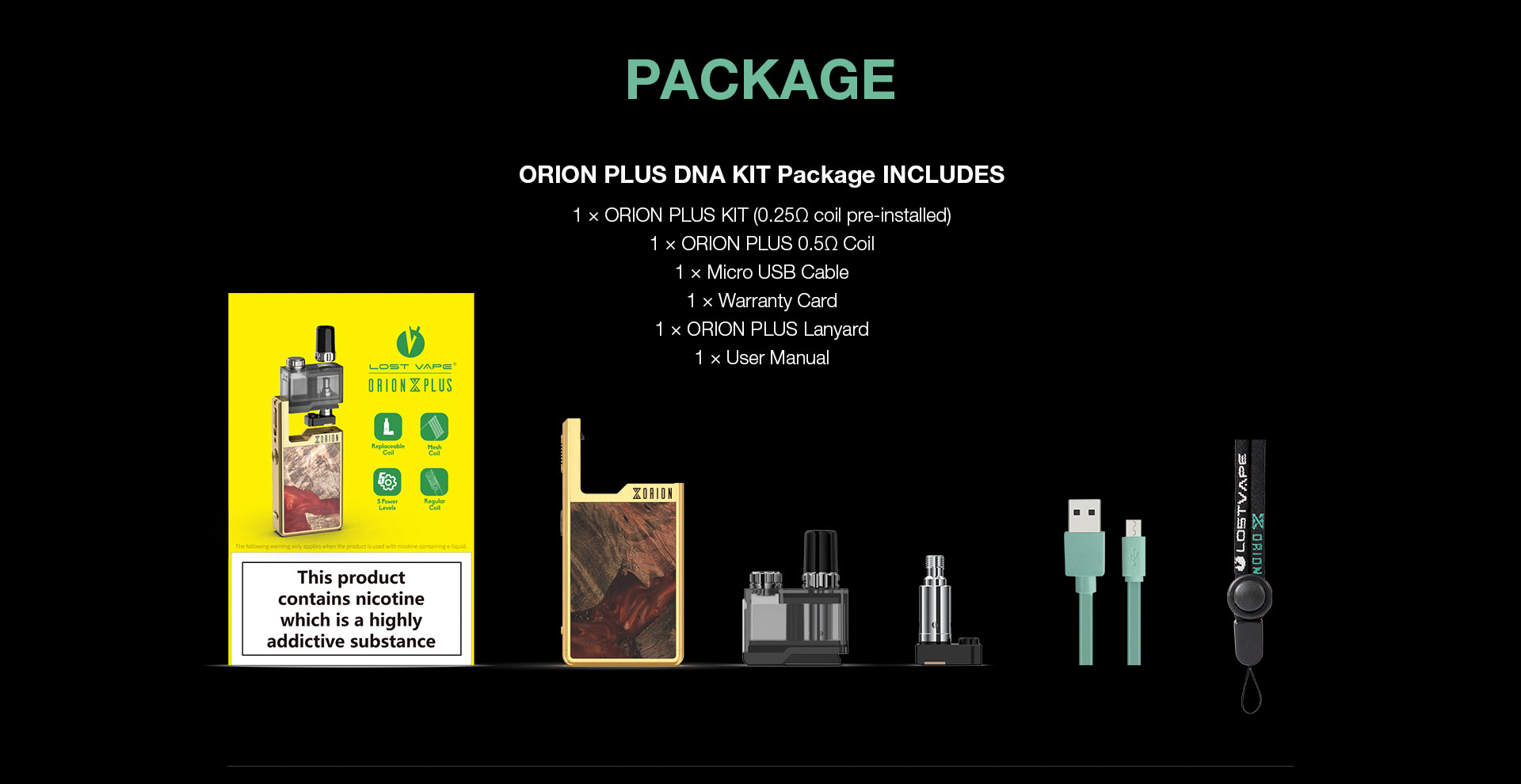 Lost Vape Orion Plus DNA Kit Package
