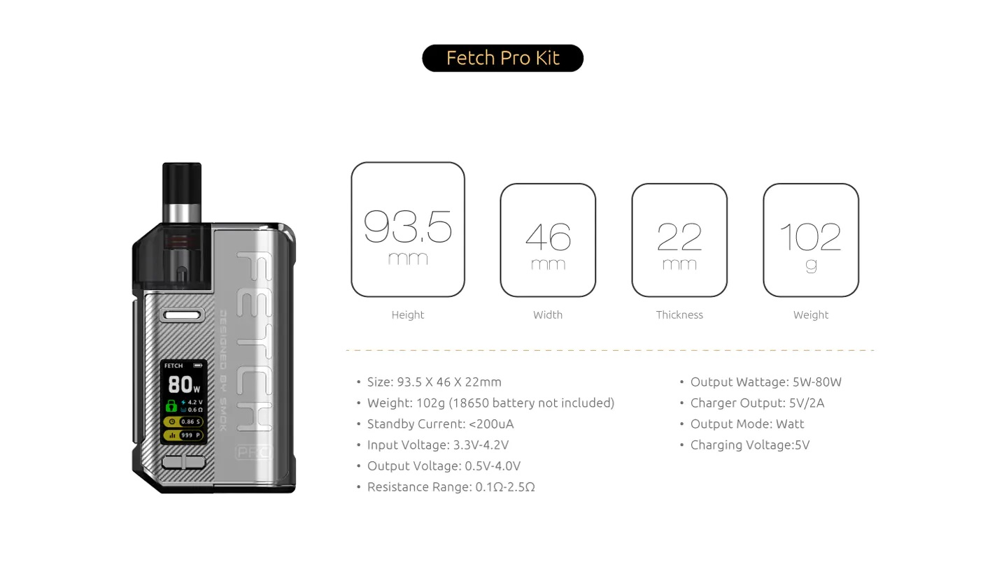 Smok Fetch Pro Kit Specs