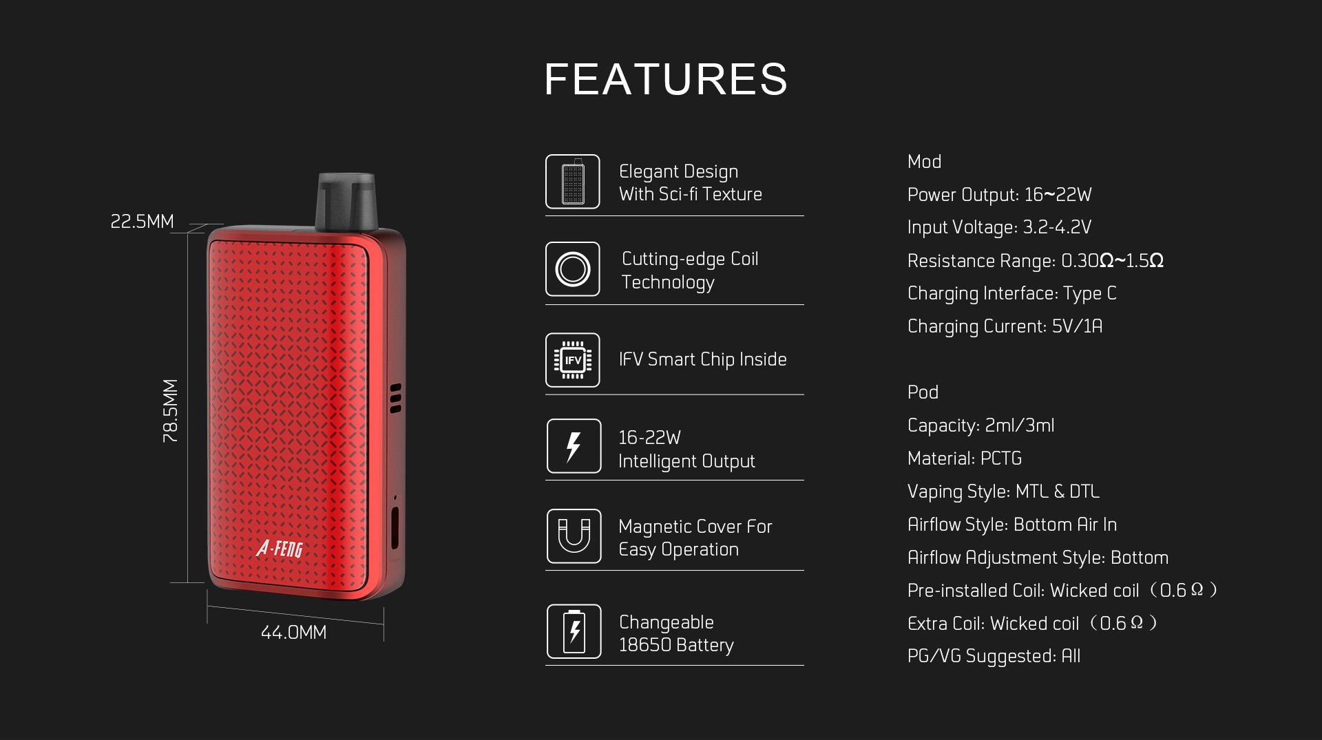 Snowwolf Afeng Pod System Kit Features