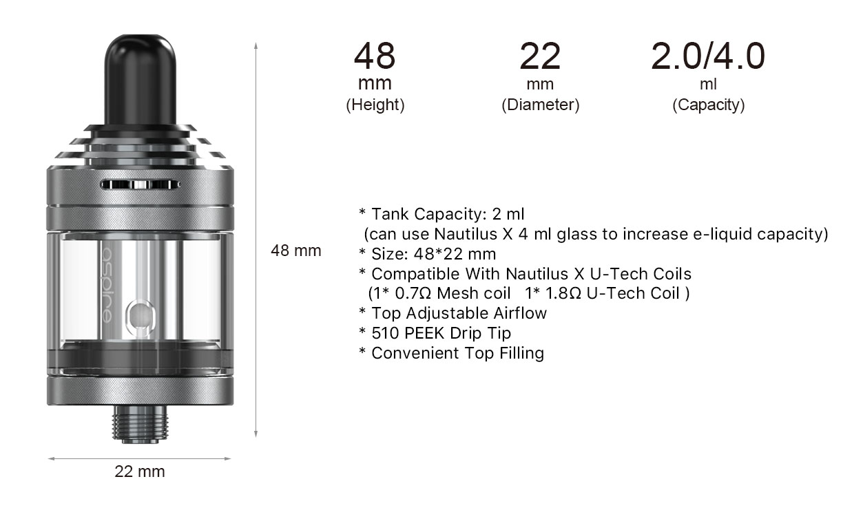 Aspire Nautilus XS Tank Specs