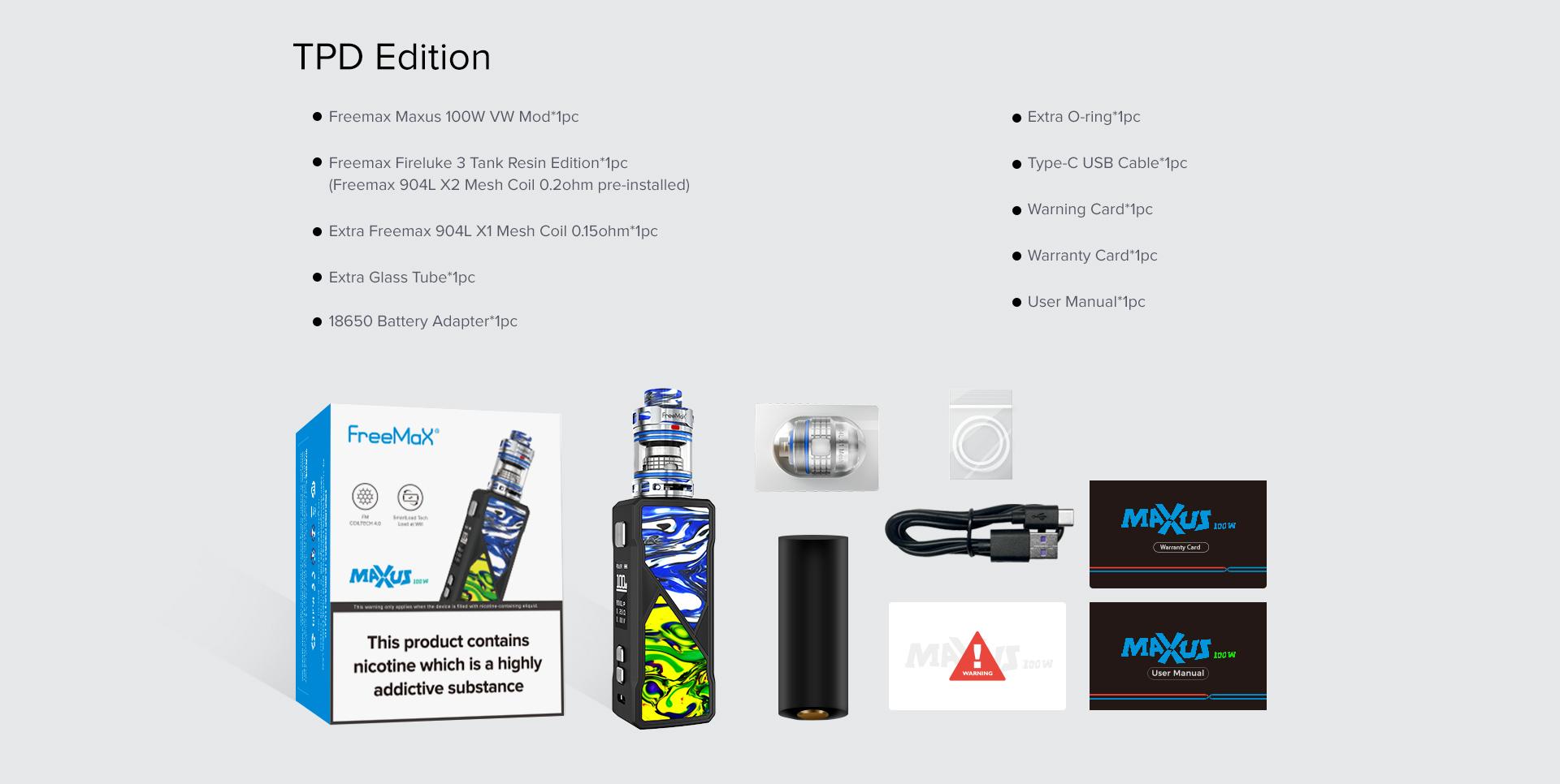 Freemax Maxus 100W Kit Contents