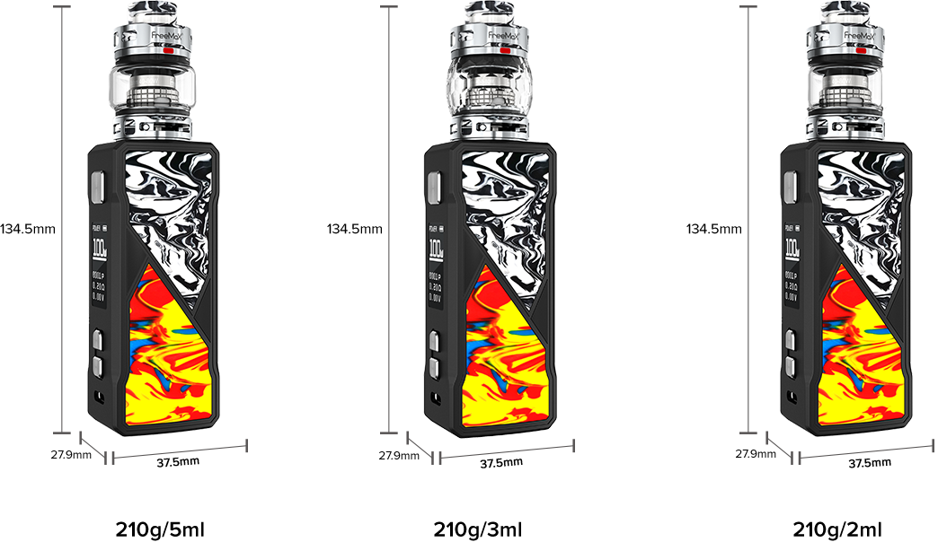 Freemax Maxus 100W Kit Dimensions