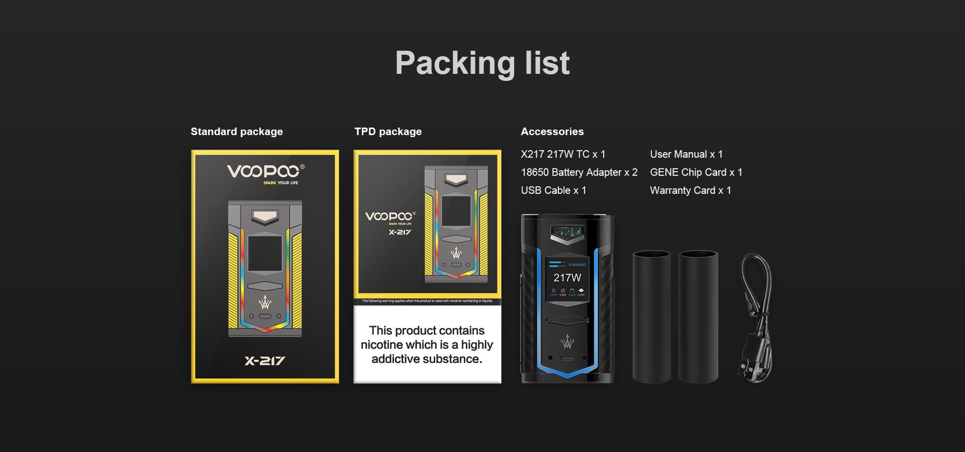 Voopoo X-217 TC Box Mod Packing List